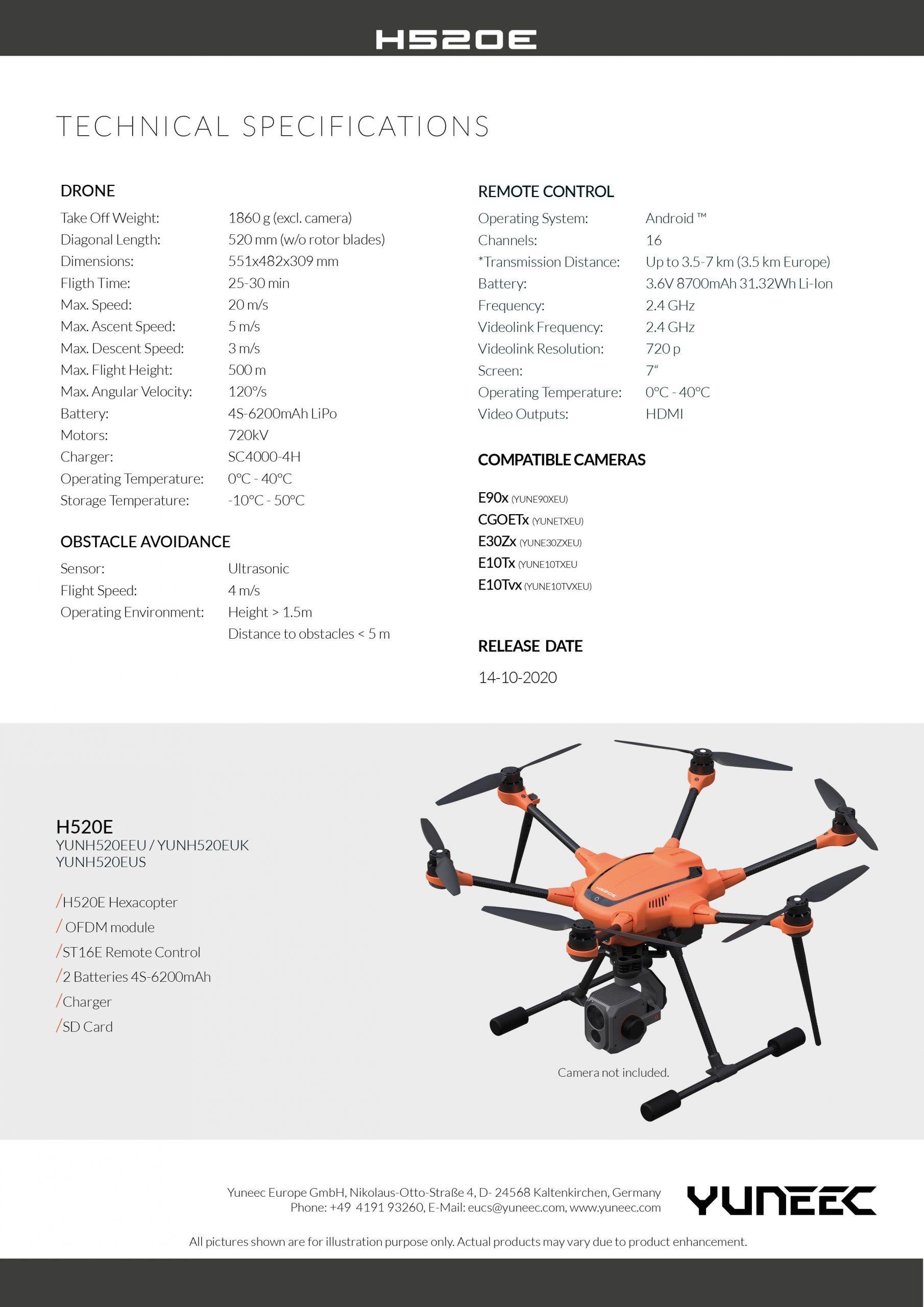 YUNEEC H520E Especificaciones y Características